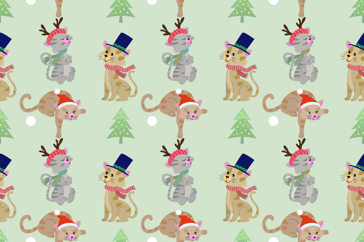 Download Free Christmas Cat Seamless Pattern Graphic By Ranger262 Creative SVG Cut Files