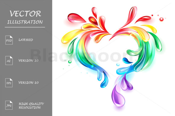 Heart of Rainbow Drops Graphic Illustrations By Blackmoon9