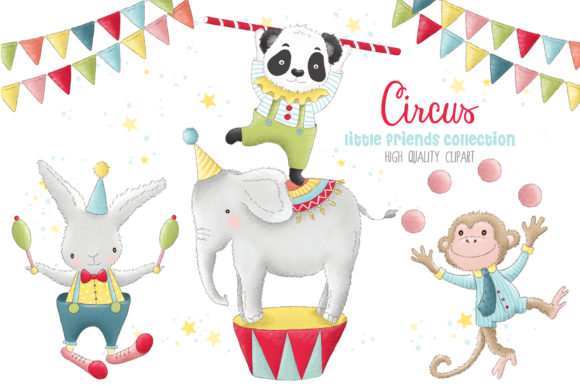 Animal Circus Carnival Clip Art Graphic Illustrations By kabankova - Image 1