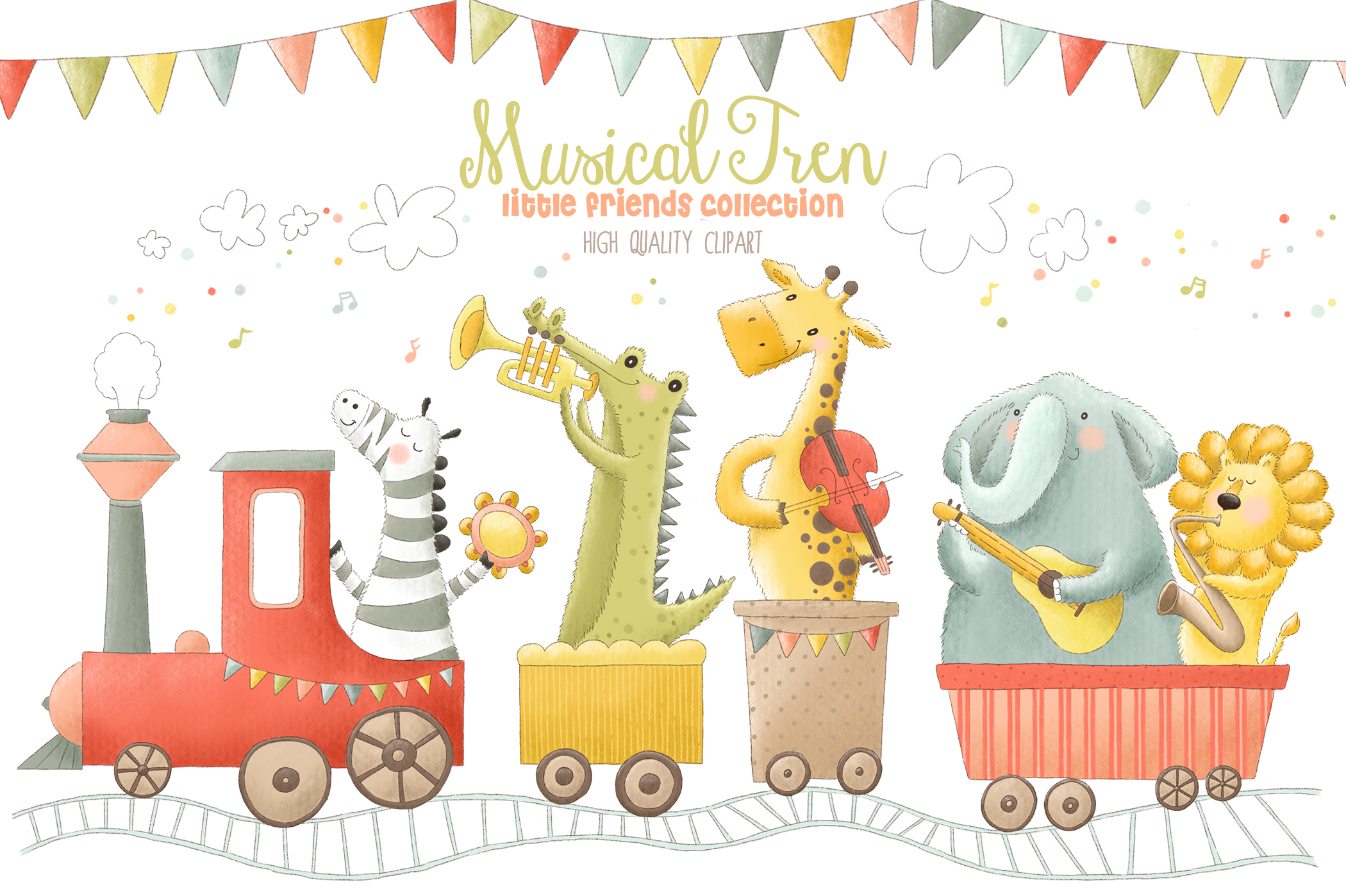 Download Free Musical Animals Tren Orchestra Clip Art Graphic By Kabankova for Cricut Explore, Silhouette and other cutting machines.