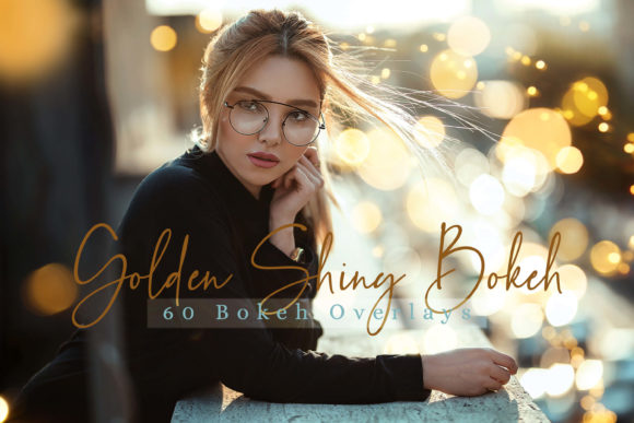 60 Golden Shiny Bokeh Lights Overlays Graphic By 3Motional
