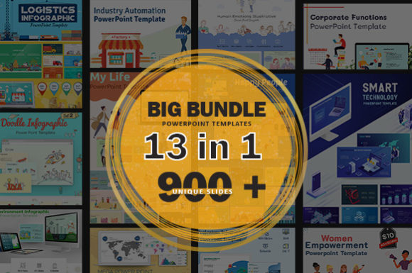 Big Bundle PowerPoint Template Graphic Presentation Templates By renure - Image 1