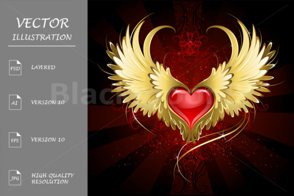 Red Heart with Golden Wings Graphic Illustrations By Blackmoon9