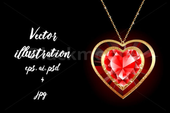 Ruby Heart on a Gold Chain Graphic Illustrations By Blackmoon9