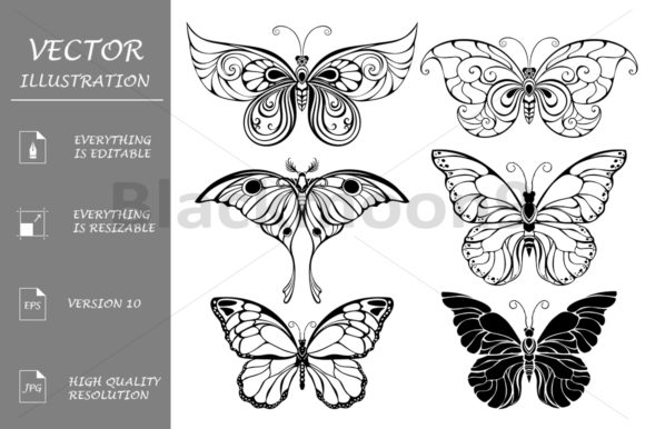 Set of Art Butterflies Graphic Illustrations By Blackmoon9