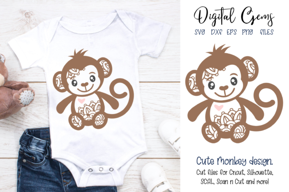 Monkey Design Graphic By Digital Gems Image 1