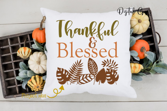Thankful and Blessed Design Graphic By Digital Gems Image 2