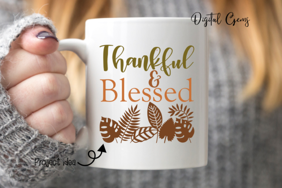 Thankful and Blessed Design Graphic By Digital Gems Image 3