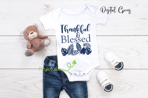 Thankful and Blessed Design Graphic By Digital Gems Image 4