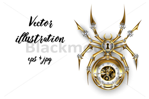 Steampunk Spider with Clock Graphic Illustrations By Blackmoon9