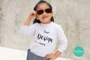 Girl's 3/4 White Shirt Mock-up Graphic By Pixel View Design