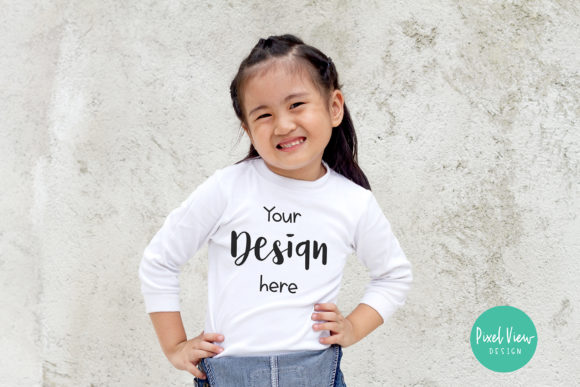 Print on Demand: 3/4 White Shirt Mock-up for Girls Graphic Product Mockups By Pixel View Design