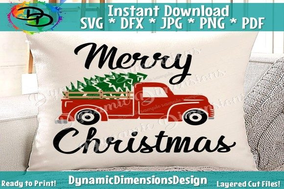 Download Free Red Truck Merry Christmas Graphic By Dynamicdimensions for Cricut Explore, Silhouette and other cutting machines.