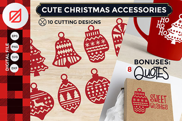 Print on Demand: Cute Christmas Accesories Cutting File Graphic Illustrations By illusatrian