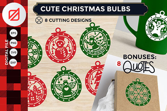 Cute Christmas Bulbs Cutting File Graphic By revino.satrian