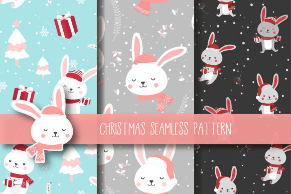 Print on Demand: Christmas Seamless Pattern Bunny Graphic Patterns By jannta