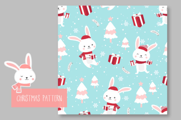 Print on Demand: Christmas Seamless Pattern Bunny Graphic Patterns By jann - Image 5
