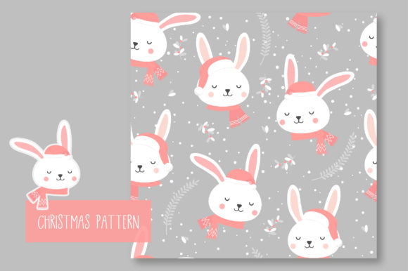 Print on Demand: Christmas Seamless Pattern Bunny Graphic Patterns By jann - Image 6