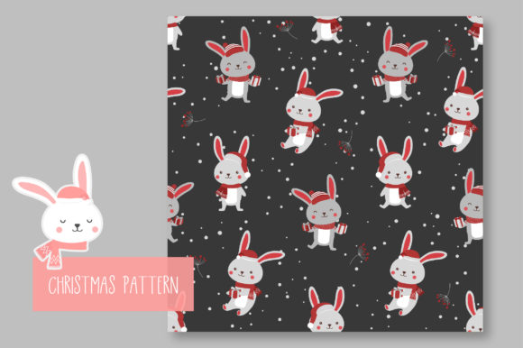 Print on Demand: Christmas Seamless Pattern Bunny Graphic Patterns By jann - Image 7