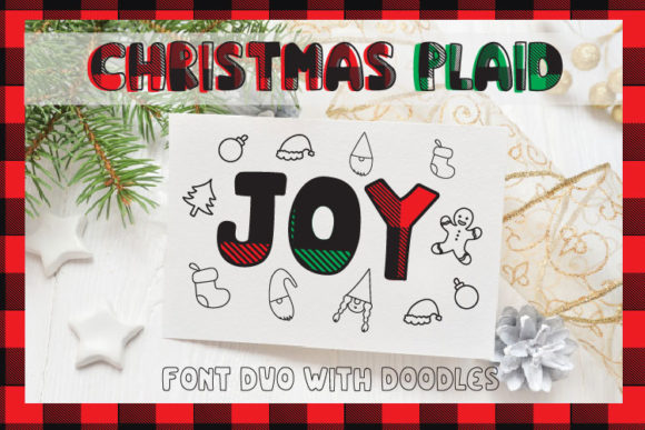 Print on Demand: Christmas Plaid Display Font By Cute files