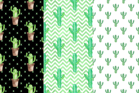 Watercolor Cactus Digital Papers Graphic Patterns By BonaDesigns - Image 2
