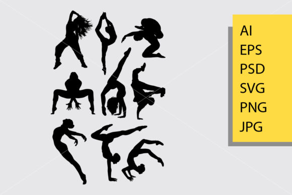 Dance Pose 1 Silhouette Graphic Illustrations By Cove703