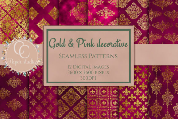 Print on Demand: Pink & Gold Damask Pattern Graphic Patterns By CC Paper Studio - Image 1