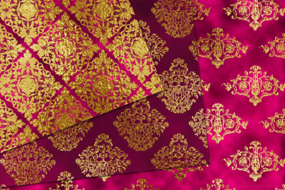 Print on Demand: Pink & Gold Damask Pattern Graphic Patterns By CC Paper Studio - Image 2