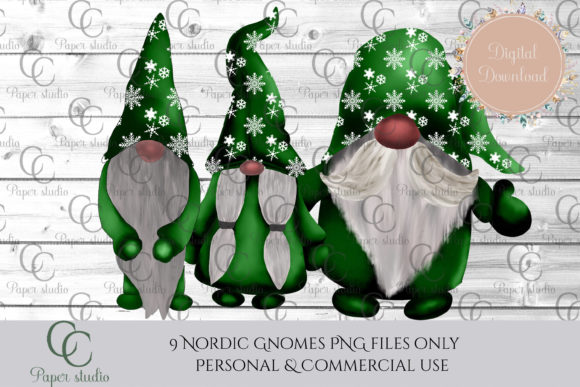 Christmas Tomte Gnomes Green Snowflake Graphic By CC Paper Studio Image 2