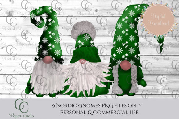 Christmas Tomte Gnomes Green Snowflake Graphic By CC Paper Studio Image 3