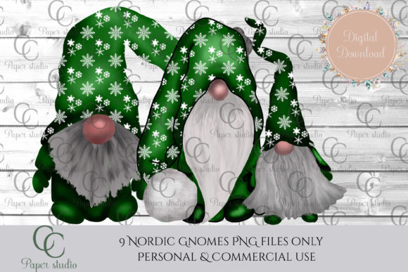 Christmas Tomte Gnomes Green Snowflake Graphic By CC Paper Studio Image 4