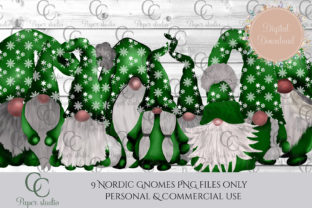 Christmas Tomte Gnomes Green Snowflake Graphic By CC Paper Studio