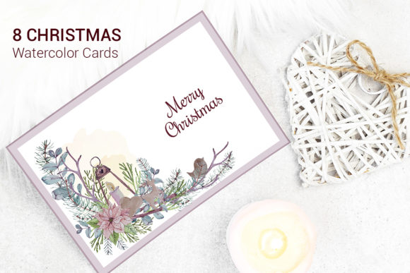 Print on Demand: Merry Christmas Watercolor Greeting Card Graphic Illustrations By PawStudio