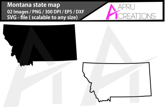 Print on Demand: Montana State Map Montana Outline Map Graphic Crafts By aparnastjp