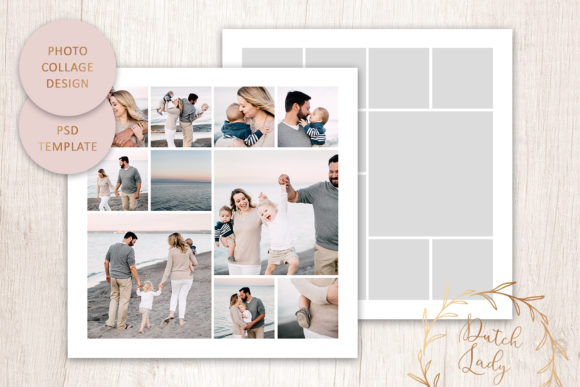 Print on Demand: PSD Photo & Image Collage Template #2 Graphic Print Templates By daphnepopuliers