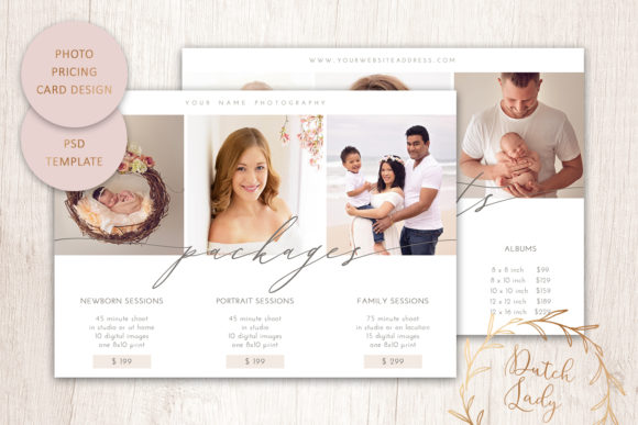 Print on Demand: PSD Photography Price Card Template #14 Graphic Print Templates By daphnepopuliers