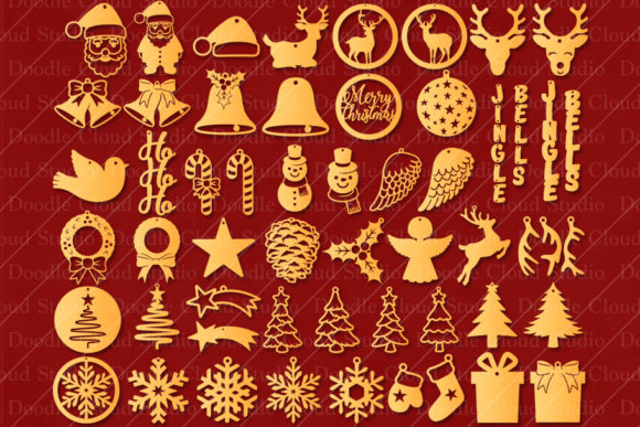 51 Earring SVG Christmas Bundle Gráfico Por Doodle Cloud Studio