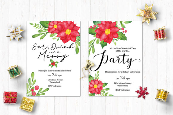Download Free Watercolor Christmas Party Invitations Graphic By Jennifer Chow for Cricut Explore, Silhouette and other cutting machines.