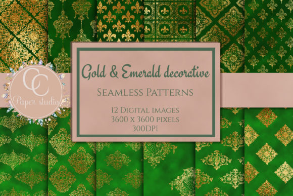 Print on Demand: Emerald & Gold Damask Pattern Graphic Patterns By CC Paper Studio
