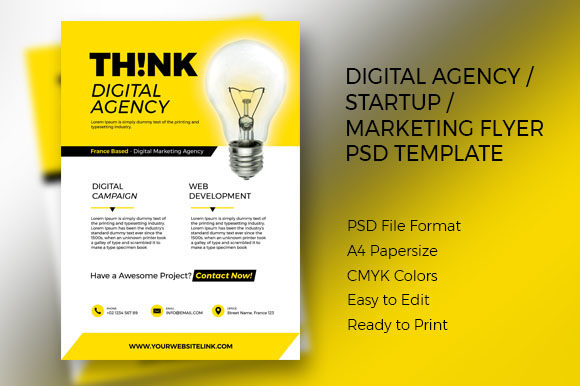 Print on Demand: THINK Digital Agency Flyer PSD Template Graphic Print Templates By pixiagraphics