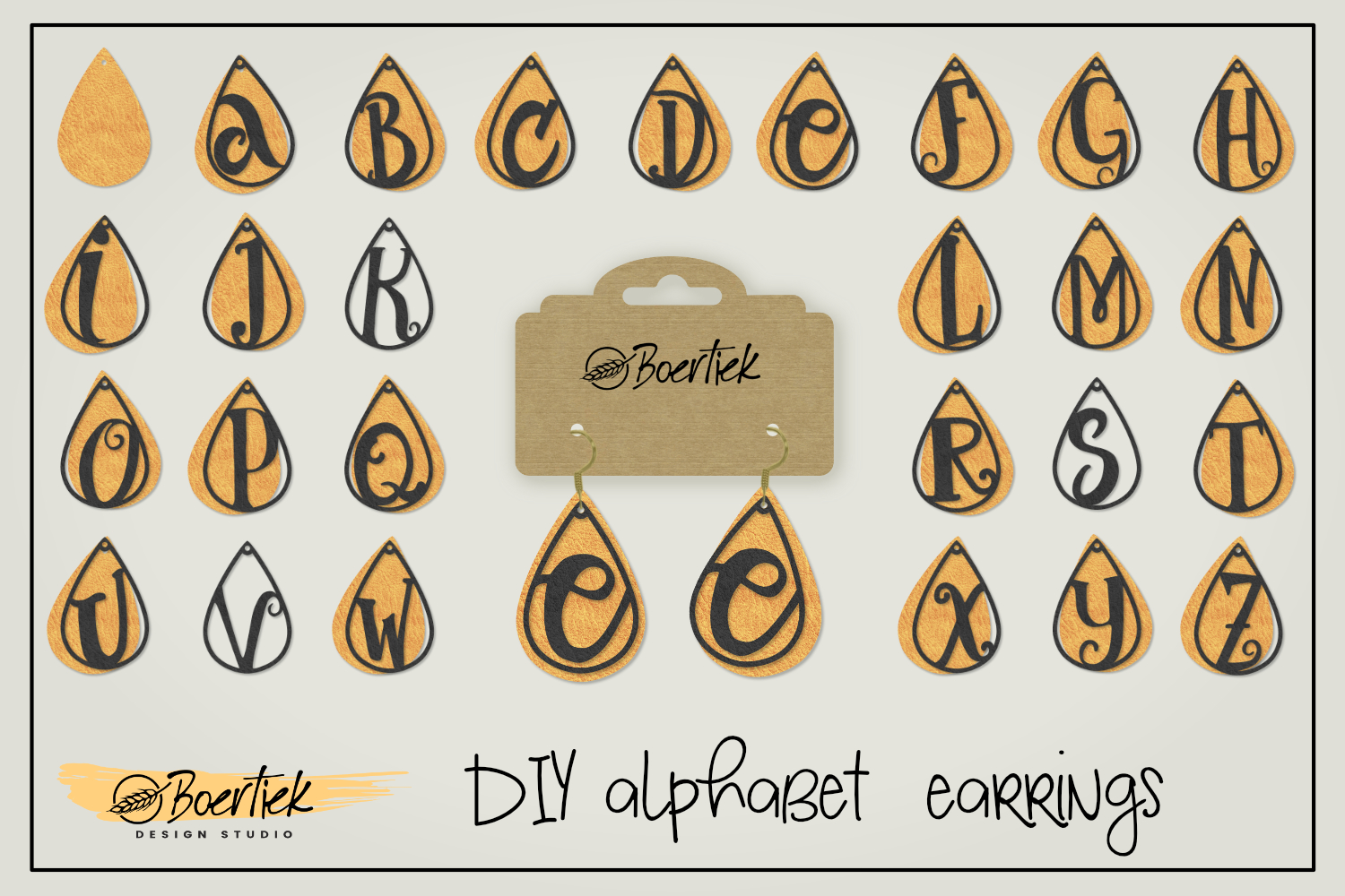Download Free Faux Leather Earrings Alphabet Cutfile Graphic By Boertiek for Cricut Explore, Silhouette and other cutting machines.