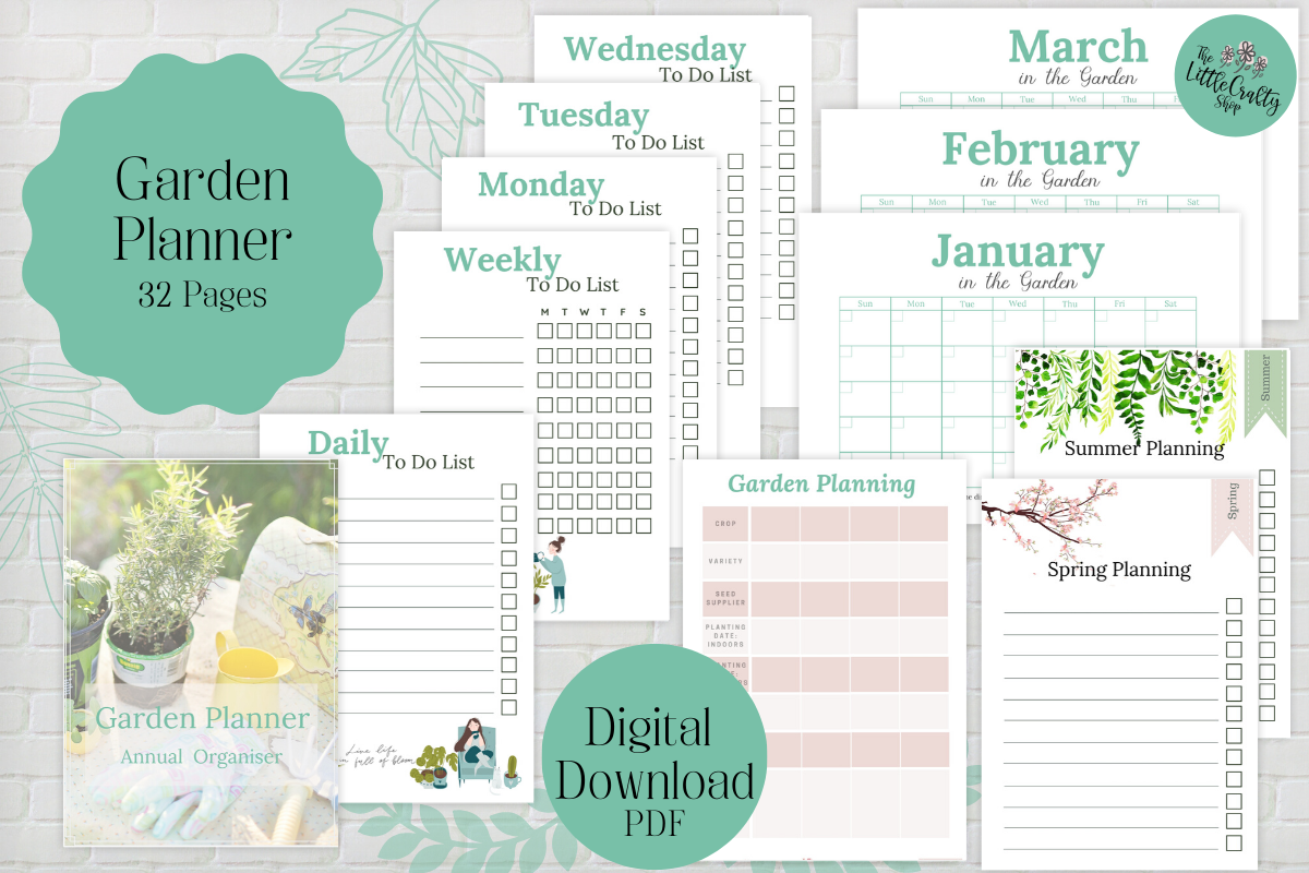 Download Free Printable Garden Planner Graphic By The Little Crafty Shop for Cricut Explore, Silhouette and other cutting machines.