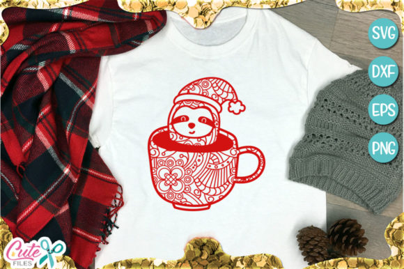 Zentangle Sloth Christmas Graphic Illustrations By Cute files