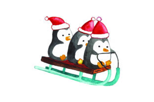 Penguins Wearings Santa Hat on a Sledge Christmas Craft Cut File By Creative Fabrica Crafts