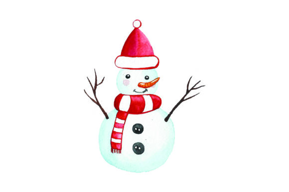 Snowman with Santa Hat - Watercolor Christmas Craft Cut File By Creative Fabrica Crafts - Image 1