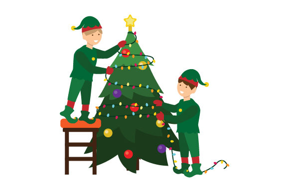 Download Free Elves Putting Lights On Tree Svg Cut File By Creative Fabrica for Cricut Explore, Silhouette and other cutting machines.