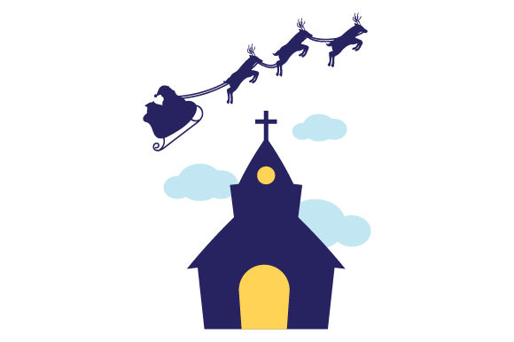 Santa Flying Sleigh over Church Christmas Craft Cut File By Creative Fabrica Crafts - Image 1