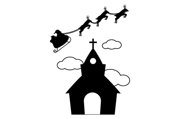 Santa Flying Sleigh over Church Christmas Craft Cut File By Creative Fabrica Crafts - Image 2