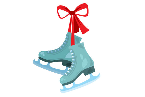Pair of Ice Skates with Red Bow Craft Design By Creative Fabrica Crafts