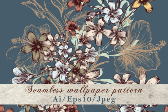 Pattern with Hand Drawn Flowers Vintage Graphic Patterns By fleurartmariia